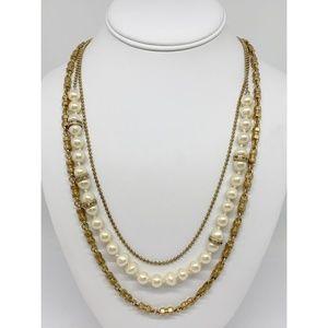 J. Crew Triple-Strand Gold Chain & Pearl Necklace
